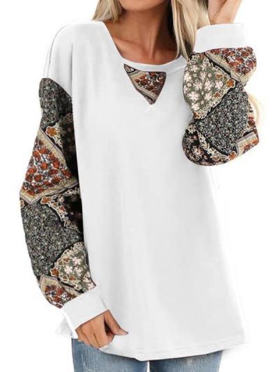 Women long sleeve round neck printed T-shirts