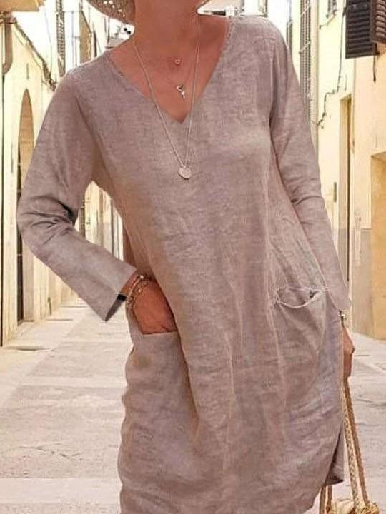 Casual Pure V neck Long sleeve Pocket Shift Dresses
