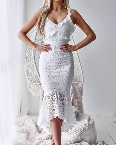 Sexy Lace V neck Sleeveless Vest Bodycon Dresses
