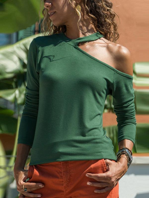 Casual V Neck One Off Shoulder Woman T-shirts