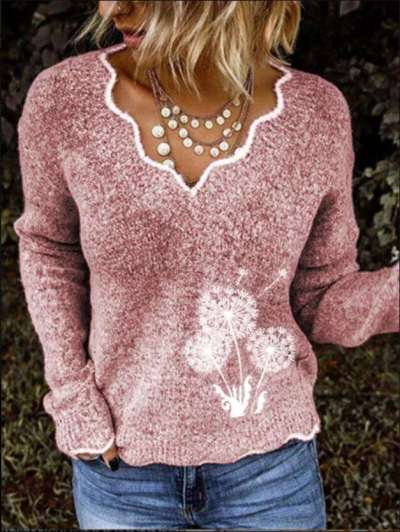 Fashion Embroidery V neck Knit Sweaters
