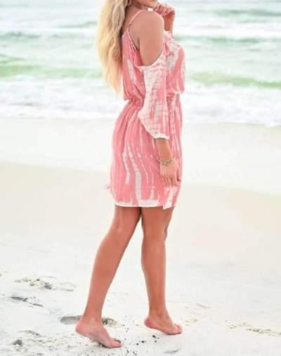 Fashion Casual Print V neck Off shoulder Vest Long sleeve Shift Dresses