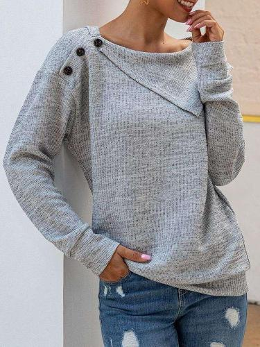 Casual Pure Knit Long sleeve Lapel Sweaters