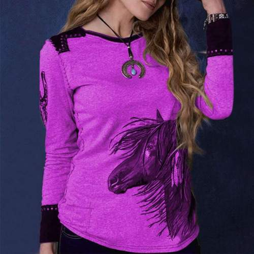 Casual Gored Long sleeve Round neck Print T-Shirts