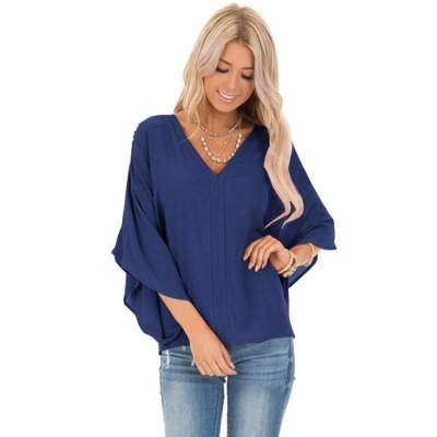 Casual Loose Pure V neck  Batwing sleeve T-Shirts