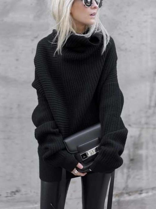 Loose Pure High collar Long sleeve Long Sweaters