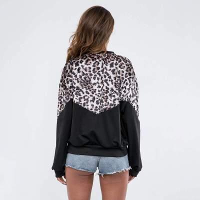 Casual Leopard print Gored Round neck Sweatshirts