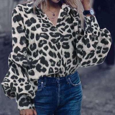 Loose Leopard print V neck Long sleeve Blouses