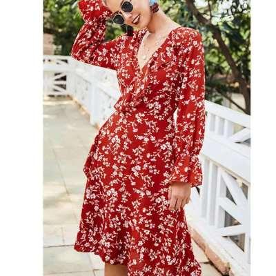 Fashion Print V neck  Falbala Long sleeve Irregular Skater Dresses