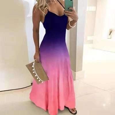 Sexy V neck Vest Print Maxi Dresses