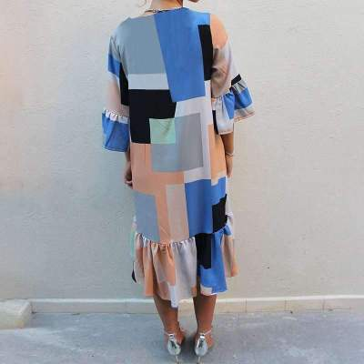 Fashion Casual Plaid Gored V neck Falbala Shift Dresses