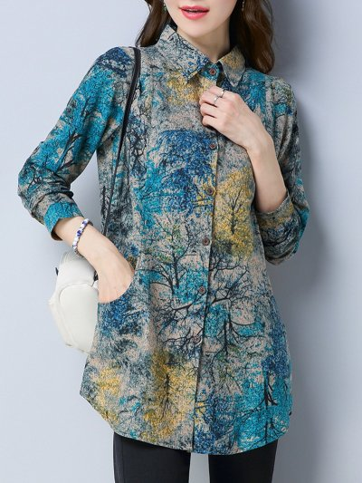 Fleece-lined Abstract Printed Blouse