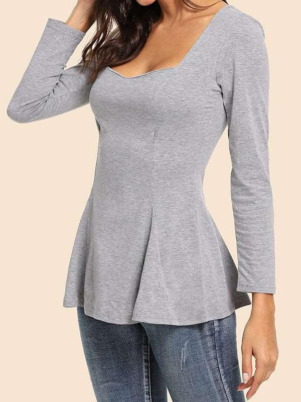 Fashion Sexy Square Collar Long sleeve T-Shirts