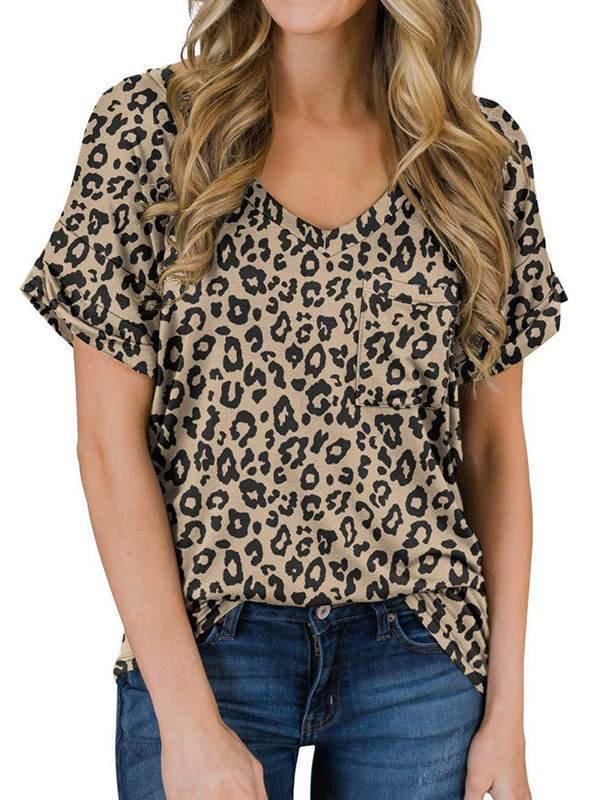 Women cotton blend leopard printed v neck T-shirts