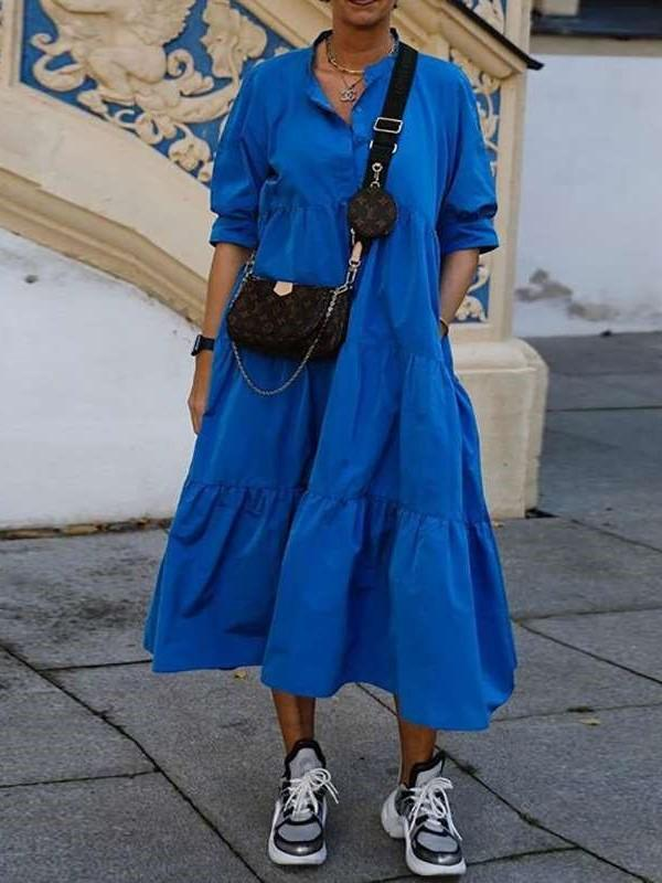 Fashion Casual Loose Pure Gored Round neck Half sleeve Maxi Dresses