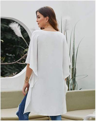 Fashion Loose Pure V neck Batwing sleeve Irregular Blouses