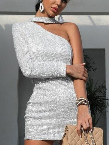 Fashion Sexy Shiny Asymmetric Strapless Bodycon Dresses