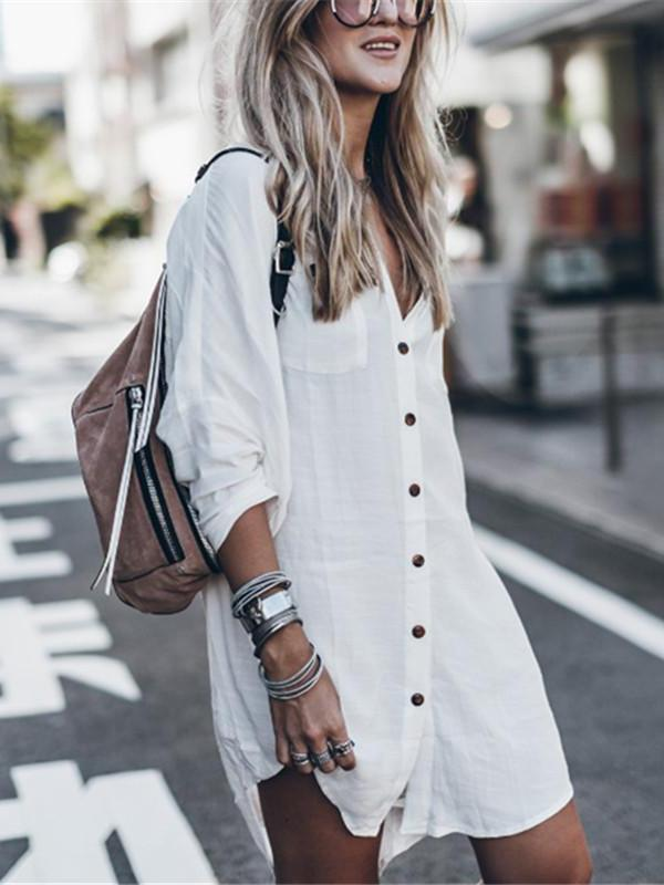 Fashion Casual Pure Color Medium And Long Loose Blouses