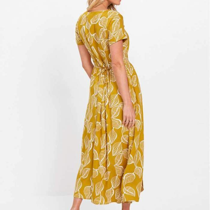 Casual Loose Print Round neck Short sleeve Vent Maxi Dresses