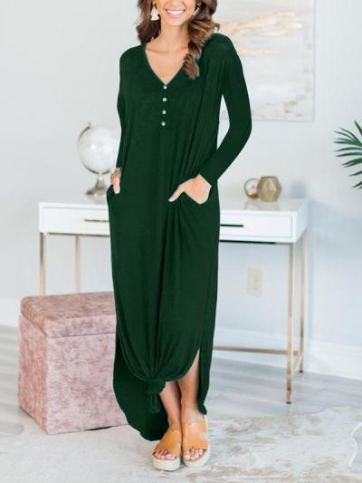 Fashion women solid button long sleeve maxi dresses