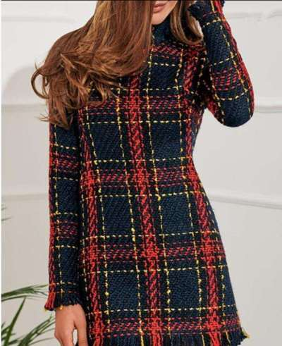 Fashion Plaid Stripe Long sleeve High collar Tee Shift Dresses
