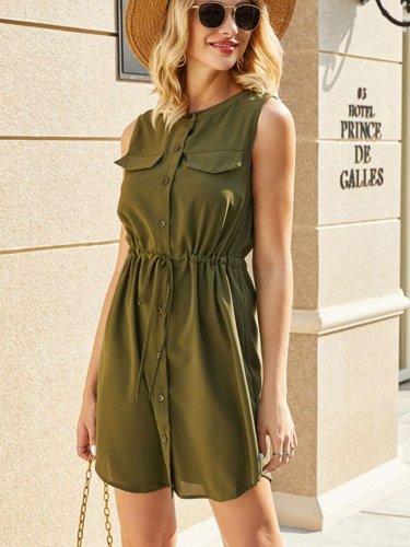 Fashion Pure Round neck Sleeveless Pocket Lacing Shift Dresses