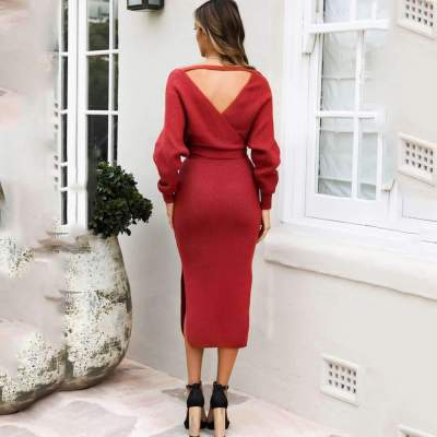 Fashion Pure Knit  Batwing sleeve Skater Dresses