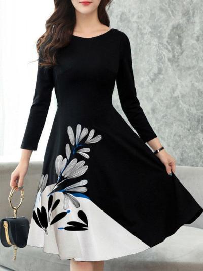 Round Neck Long Sleeve Elegant Flower Printed Skater Dresses