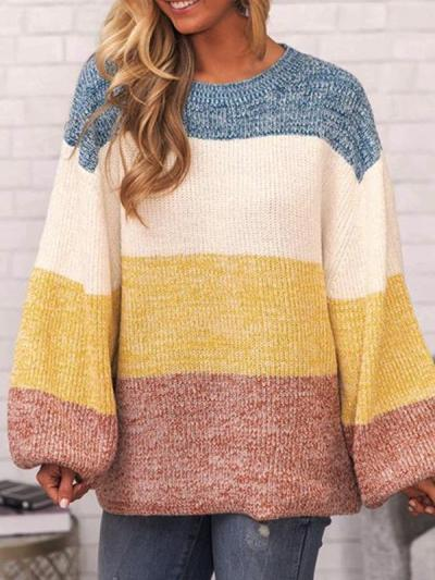 Loose Daily Long Sleeve Round Neck Colorful Stripe Sweaters