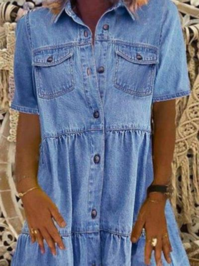 Fashion Casual Lapel Short sleeve Jean Shirt Shift Dresses