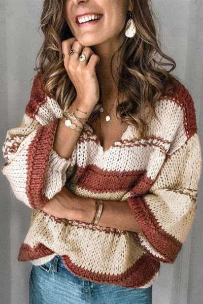 Fashion Casual Stripe V neck Long sleeve Knit Sweaters