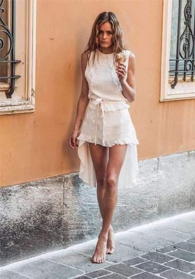 Fashion Casual Lace Irregular Shift Dresses