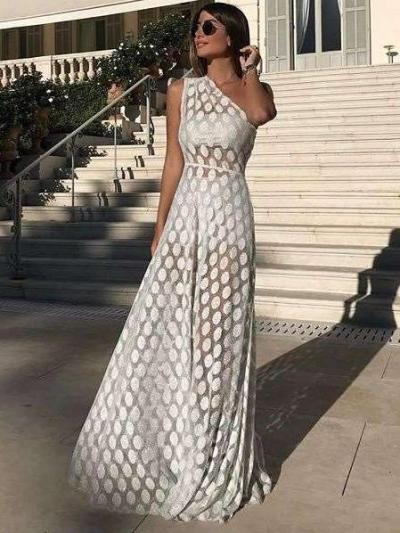 Sexy Single Shoulder Sleeveless Point Maxi Dresses