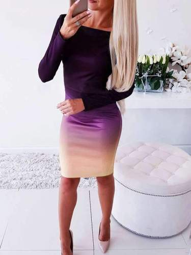 Sexy long sleeve printed gradient bodycon dresses