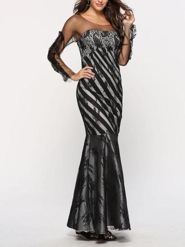 Lace Slim Woman Long Sleeve Bodycon Long Evening Dress