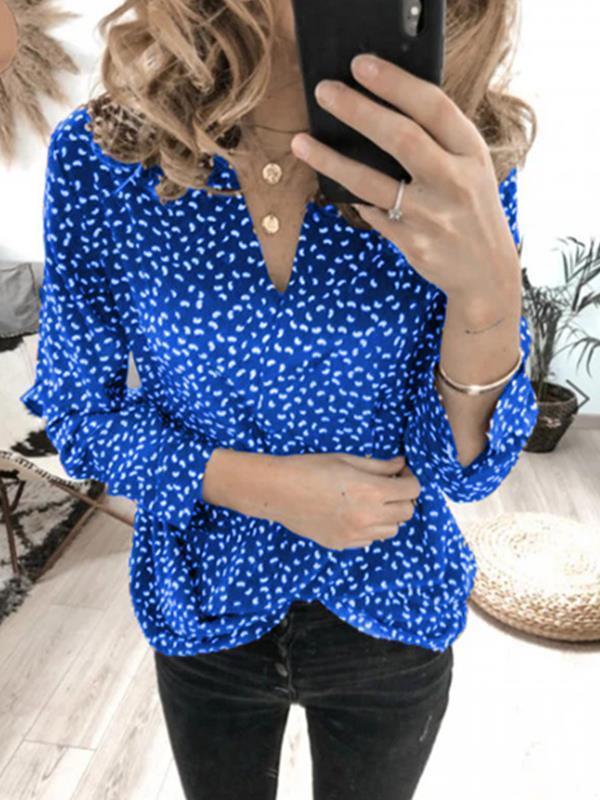 Wave dot printed v-neck long sleeve top blouses
