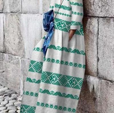 Fashion Print Round neck Long sleeve Maxi Dresses