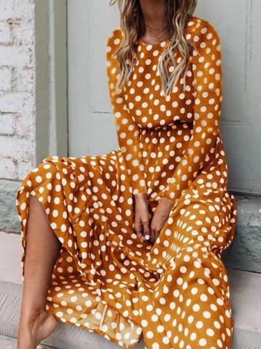 Fashion polka dot printed long sleeve maxi dresses
