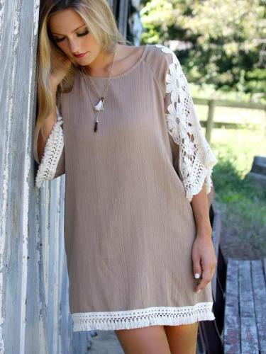 Lace Gored Loose Shift Dresses