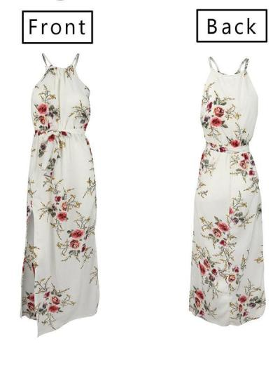 Stylish chiffon vacation band neck printed maxi dresses