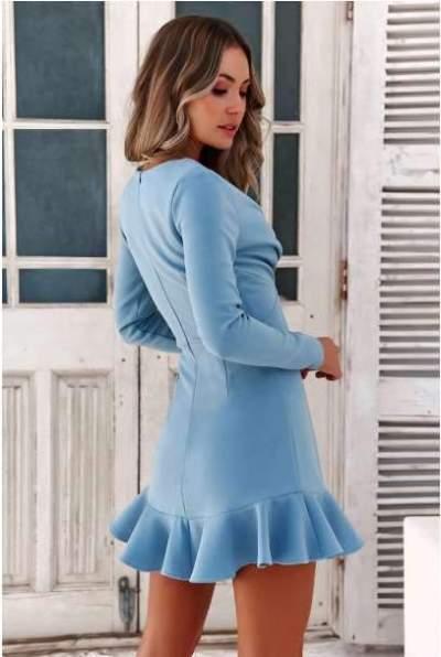 Sexy Pure V neck  Falbala Long sleeve Skater Dresses