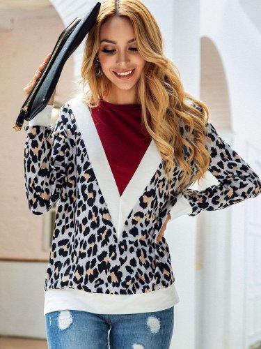 Fashion Gored Leopard print Round neck Long sleeve Sweatshirts