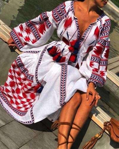 Casual Loose Print V neck Long sleeve Lacing Maxi Dresses