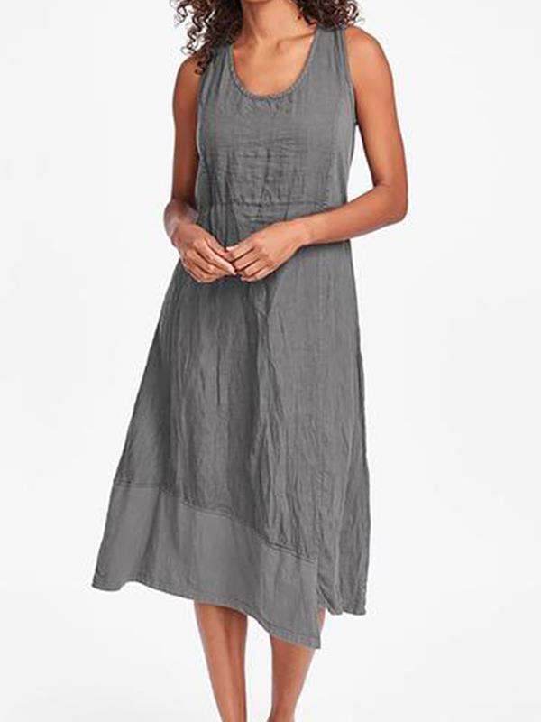 Casual Plain Sleeveless Women Round Neck Irregular Hem Maxi Dresses