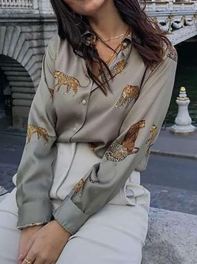 Fashion Lapel Print Long sleeve Blouse