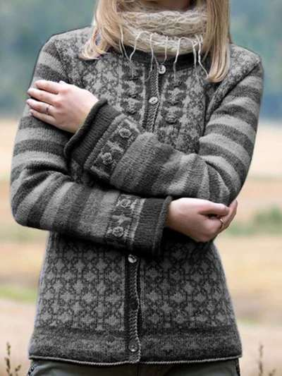 Casual Print Knit Fastener Cardigan