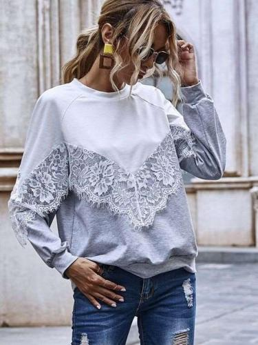 Fashion Lace Gored Roynd neck Long sleeve Sweatshirts