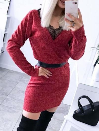 Sexy V neck Lace Long sleeve Bodycon Dresses