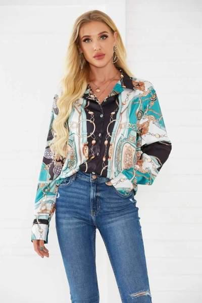 Fashion Print Lapel Long sleeve Blouses