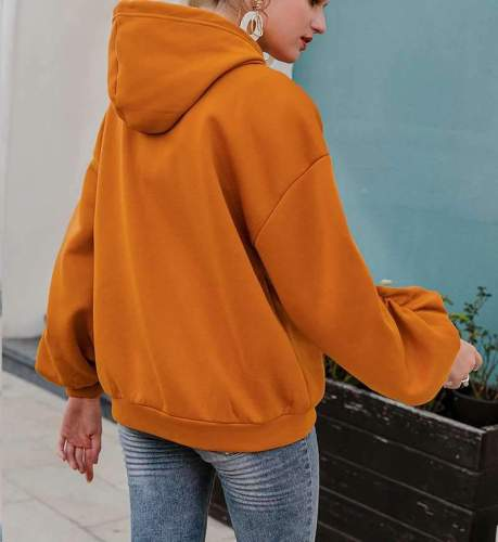 Fashion Casual Pure Puff sleeve Hoodies Sweatshirts